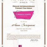 Attestato di Vincita Premio Van Gogh 2020 - Anna Carignani