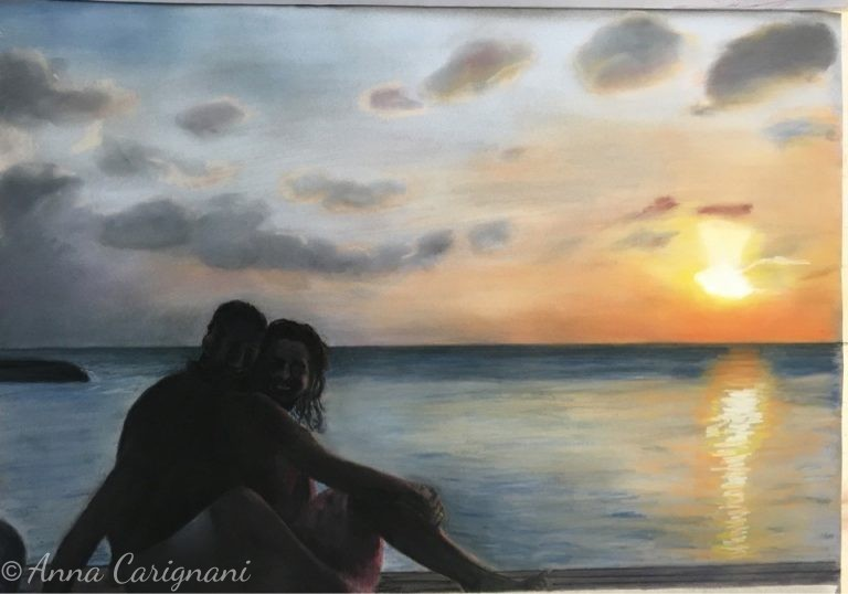 Gli innamorati al tramonto